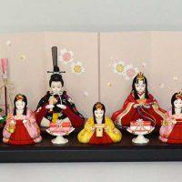 プリンセス雛人形の木目込み人形 三人官女つきの五人飾り 99,800円~118,800円(消費税込み・送料無料)